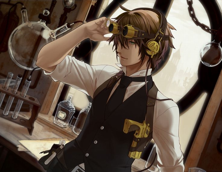 anime boy and boy | Steampunk, anime, bag, boy, brown hair, glasses, green eyes, gun ...