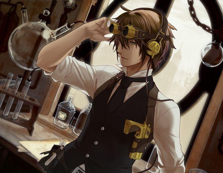 anime boy and boy | Steampunk, anime, bag, boy, brown hair, glasses, green eyes, gun ...
