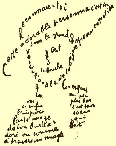 Calligramme de Guillaume Apollinaire (1880-1918) - from Poèmes à Lou ~ this is an example of 'concrete poetry' (typography and layout adds to overall effect)