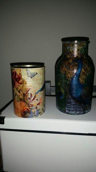 Decoupaged jar and pot