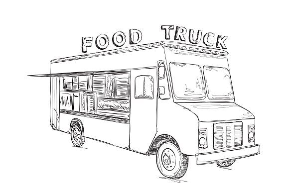 Hand Drawn Food Truck Food Drawing Food Truck How To Draw Hands