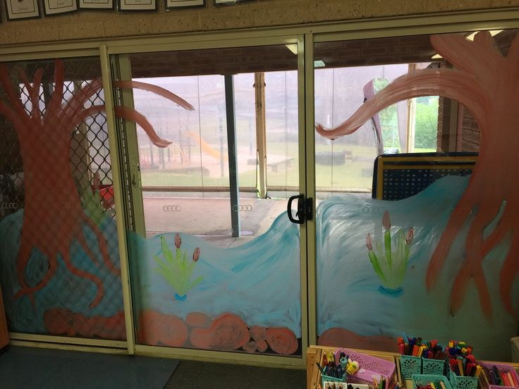 Australian bush classroom theme-painted a billabong with mangroves and reeds