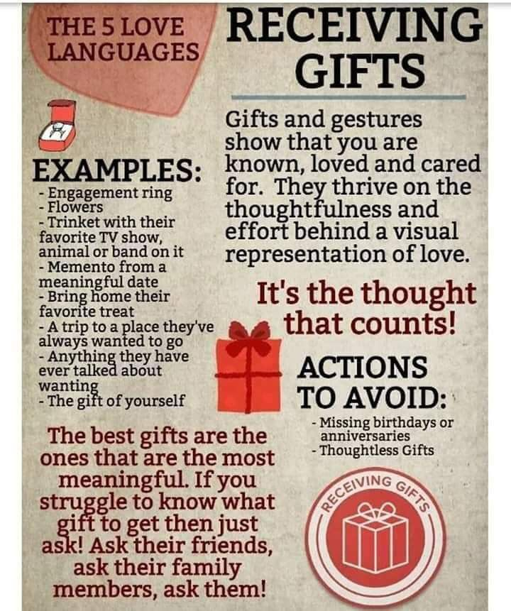 5 love languages in meme format receiving gifts love