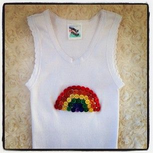 Button Rainbow Singlet - so bright and colourful. This will go with anything!!! Can't wait for summer...