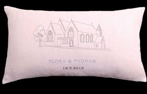 The Edinburgh church where the marriage took place was embroidered onto this keepsake cushion.