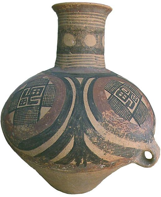 4000 years old chinese funeral urn with vedic swastika symbol