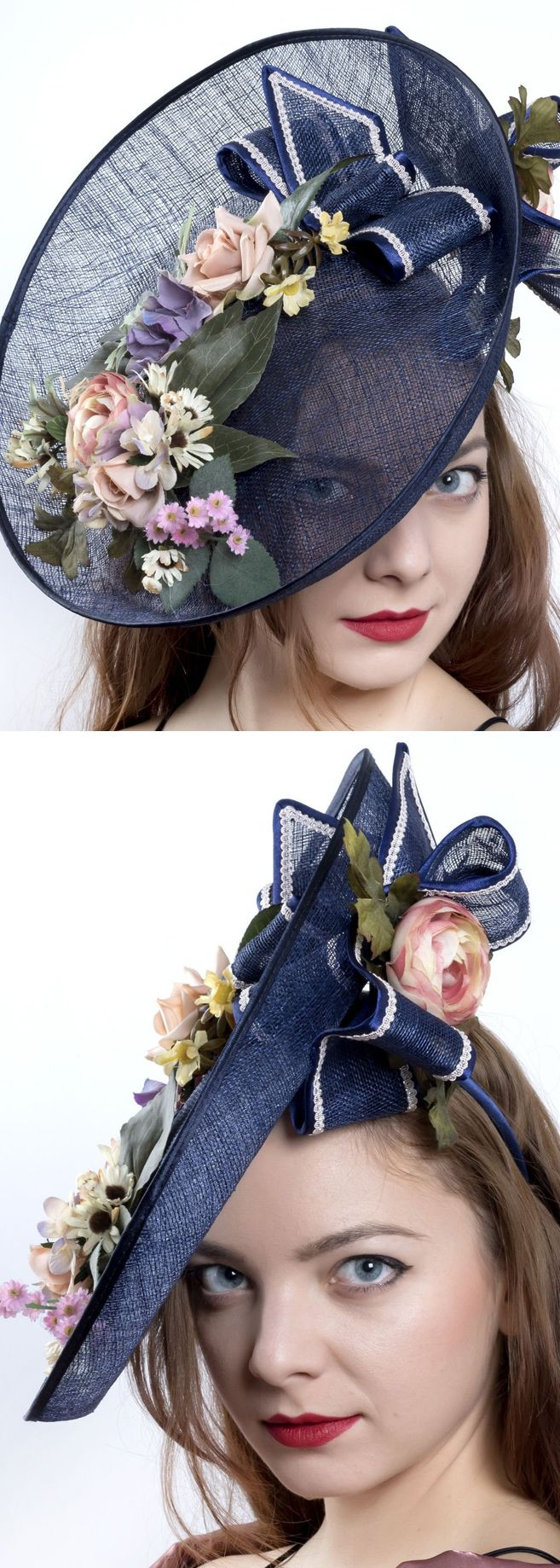 Navy Pink Green Floral Headpiece Hat Fascinator for Raceday Fashion, Kentucky Oaks or Derby Day, with  Floral and Bows arrangement. Also perfect hat for Royal Ascot, Del Mar Races or Melboune Cup and pretty for a Mother of the Bride. Handmade on Etsy. Kentucky Derby Outfit Ideas and Inspiration. #kentuckyderby #derbyhats #royalascot #ascot #hats #millinery #fascinators #bighats #ladiesday #floralfashion #racingfashion #motherofthebride #affiliatelink #etsyfinds #delmarraces