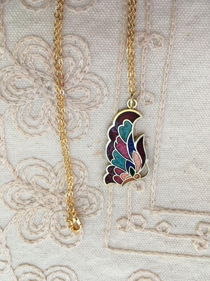 Butterfly pendant necklace, butterfly pendant, butterfly pendants, butterfly jewelry, butterfly pendant necklaces, pendants vintage  N191 by DuckCedar on Etsy