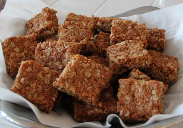 Crunchies - Traditional South African Oatmeal Cookie Bars. www.ornabakes.com reminds me of granny