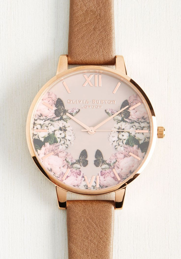 Yours, Mine, and Hours Watch in Taupe by Olivia Burton - Floral, Work, Casual, Exceptional, Rose Gold, Leather, Metal, Pink, Brown,…