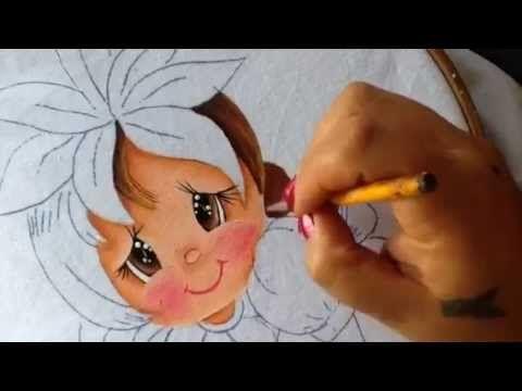 Pintura en tela niña piña # 2 con cony