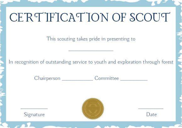 Scout Certificates Template Certificate Templates Awards Certificates Template Templates