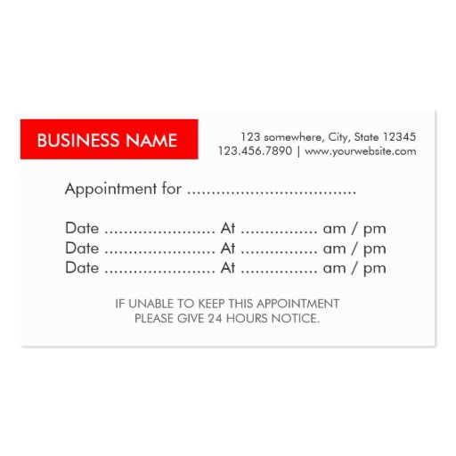 Best Appointment Reminder Business Cards Images On Pinterest - Appointment business card template