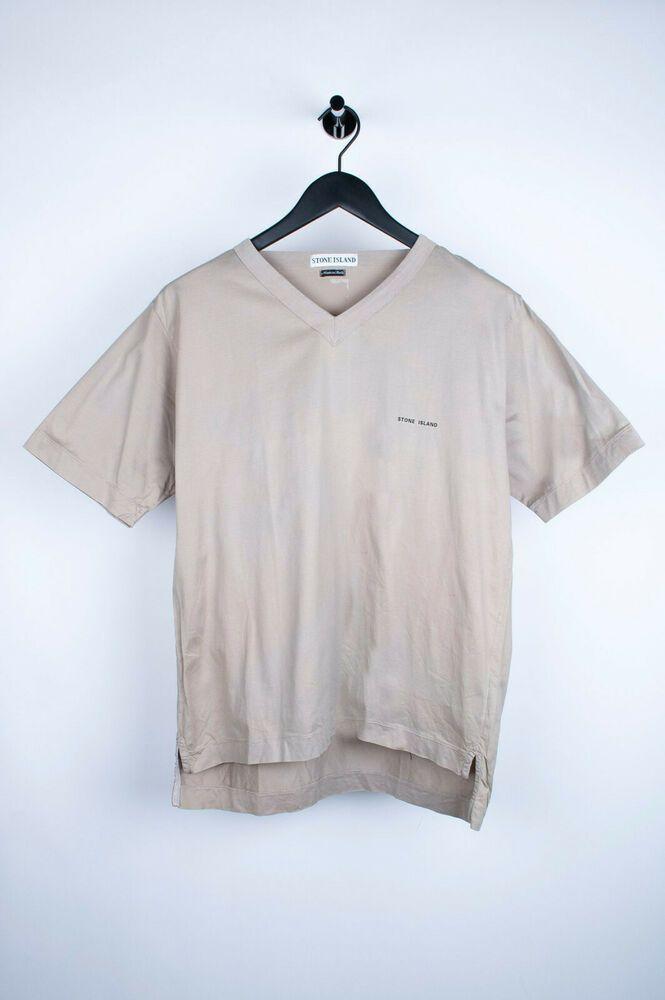 Original Vintage Stone Island V Neck Beige Men T Shirt In Size M Mens Tshirts Shirts Stone Island T Shirt