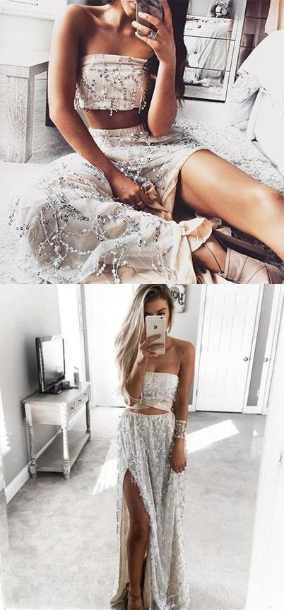 2017  two piece prom dresses,sexy two piece prom dresses,prom dresses for teens,