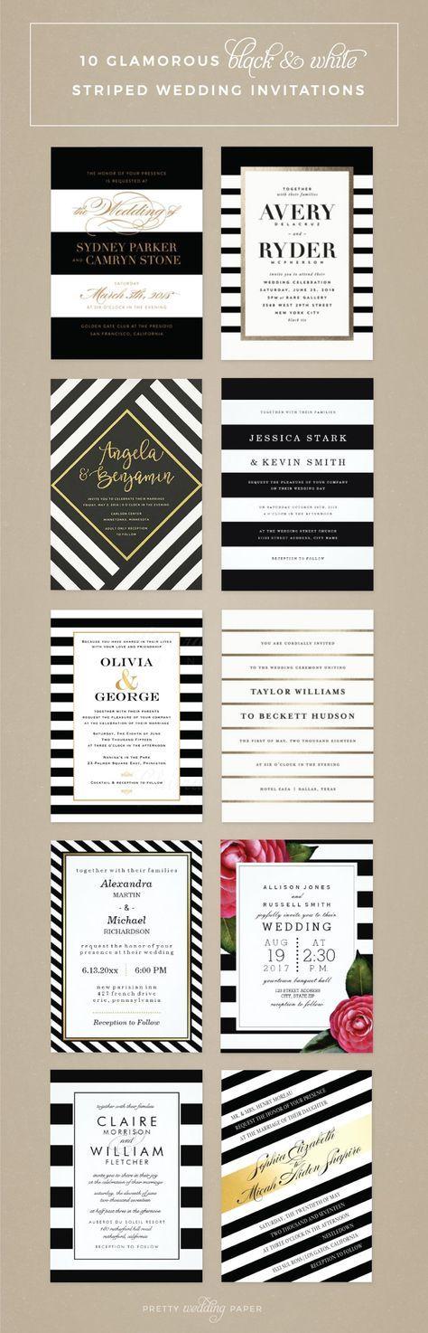 Glamorous black and white striped wedding invitations
