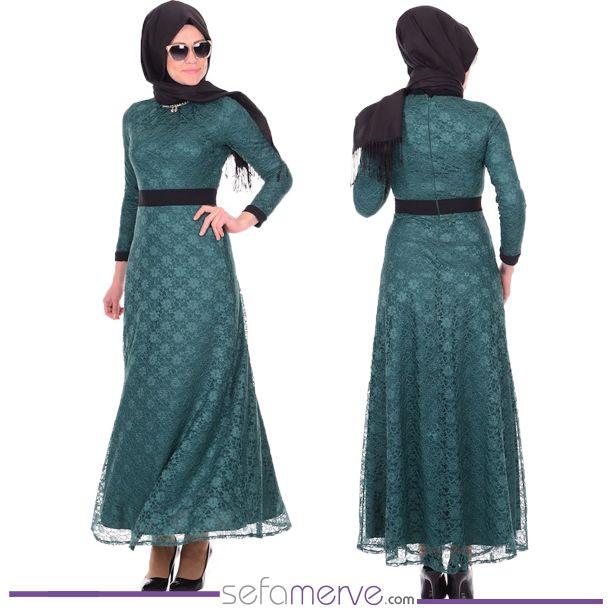 Dantelli Abiye 2355-01 Yeşil.... 89.90 TL... Kargo BEDAVA FIRSATI! #sefamerve #tesetturgiyim #tesettur #hijab #tesettür