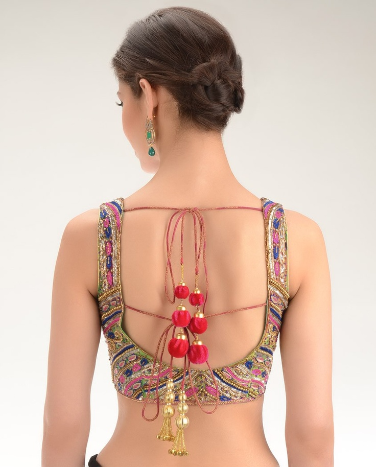 Magenta Brocade Sleeveless Open Back #Choli Blouse with Embellishments - Exclusively.In