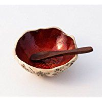 Beautiful PLAYFUL RED handmade ceramic spice bowl with spoon, Stoneware pottery bowl, Ring bowl, Soy sauce bowl, Salt & Pepper bowl, Christmas gift