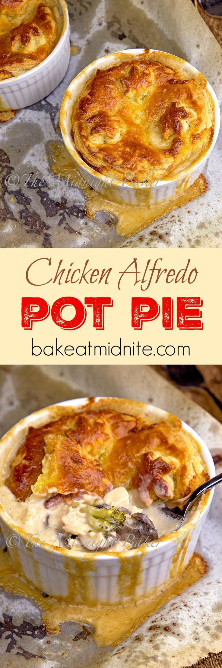 Chicken Alfredo Pot Pie--delicious way to use leftover chicken and puff pastry: