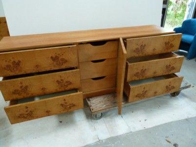 Mid Century Milo Baughman Olive Burl Wood Dresser Credenza Buffet ...