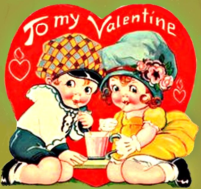 Vintage Valentine lovebirds sharing a malt