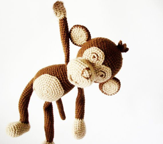 Brown Monkey Crocheted Toy Babies Toy Children by DuduToyFactory, $49.90