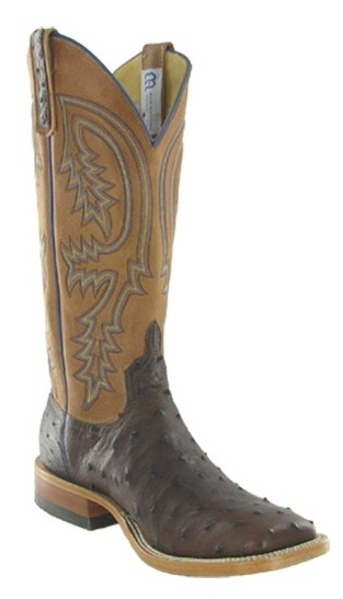 "Mens Cowboy Boots Anderson Bean Cigar Full Quill 13"" Cognac Wipeout Top Square Toe Boot"