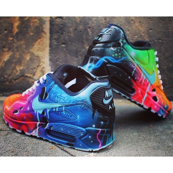 Nike Air Max 90 Blue Galaxy Style Painted Custom Shoes Sneaker... ($323) ❤ liked on Polyvore featuring shoes, blue color shoes, blue shoes, leather footwear, genuine leather shoes and nebula shoes