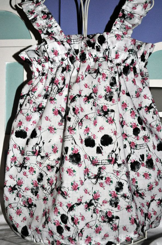 Love it. Baby girls sundress- floral skull pattern. Size 6-9months. $28.00, via Etsy.