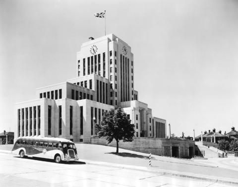 CIty Hall is of the great art deco buildings in Vancouver. Built in 1935, it was, in part, a make-work project during the Great Depression, similar to the Lions Gate Bridge. It was built in a remarkable 330 days at the cost of $1 million. (Photo: 1937, via Vancouver Archives)
