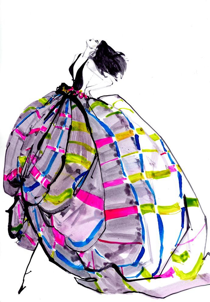 GORGEOUS flowing dress - striped with pink and yellow and blue FROM: ANNARUSSKA Fashion LIBRARY - Fashion Week Russia - Модные иллюстрации Marc Antoine Coulon