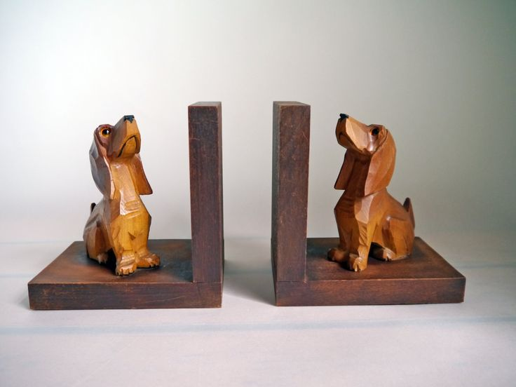 Vintage Dachshund Wiener dog Sausage dog bookends wooden dog book rack holder rustic home decor bookshelf hand carved Germany, 589 by Berlinattic on Etsy