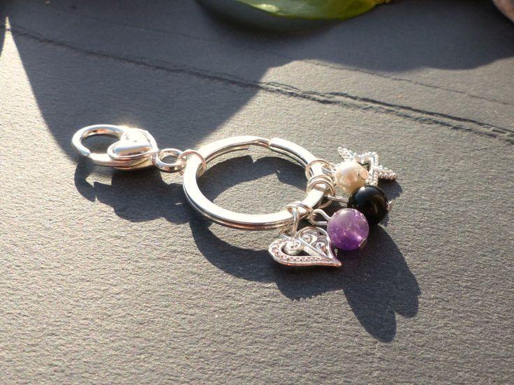 Porte-clés améthyste perle d'eau douce obsidienne noire, porte clés coeur, porte clés chic, bijou étoile : Autres bijoux par lapassiondisabelle