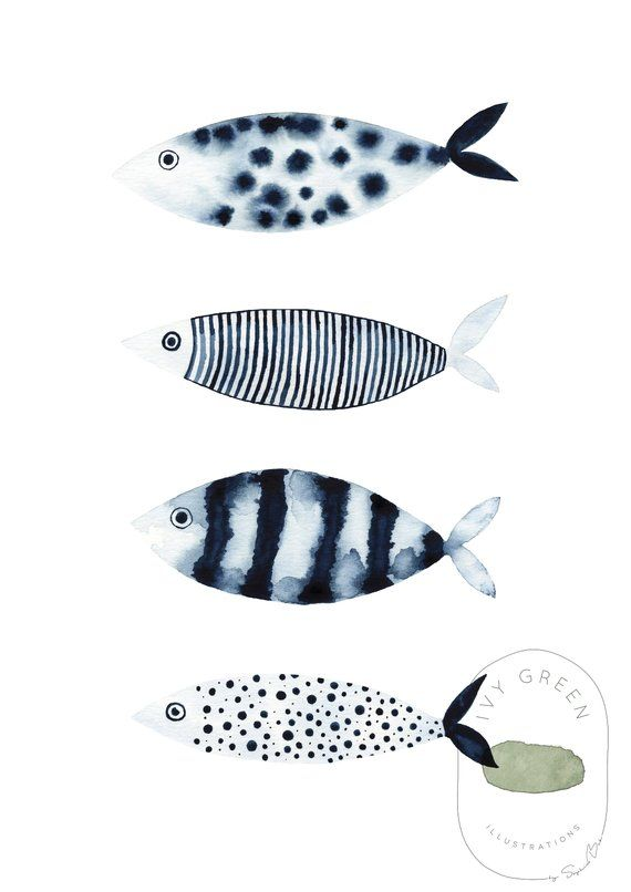 Fish Painting Navy Blue Wall Art Watercolor Fish For Nursery Watercolor Kitchen Decor Fish Watercolor Ivy Green Illustrations Watercolor Fish Fish Painting Blue Wall Art