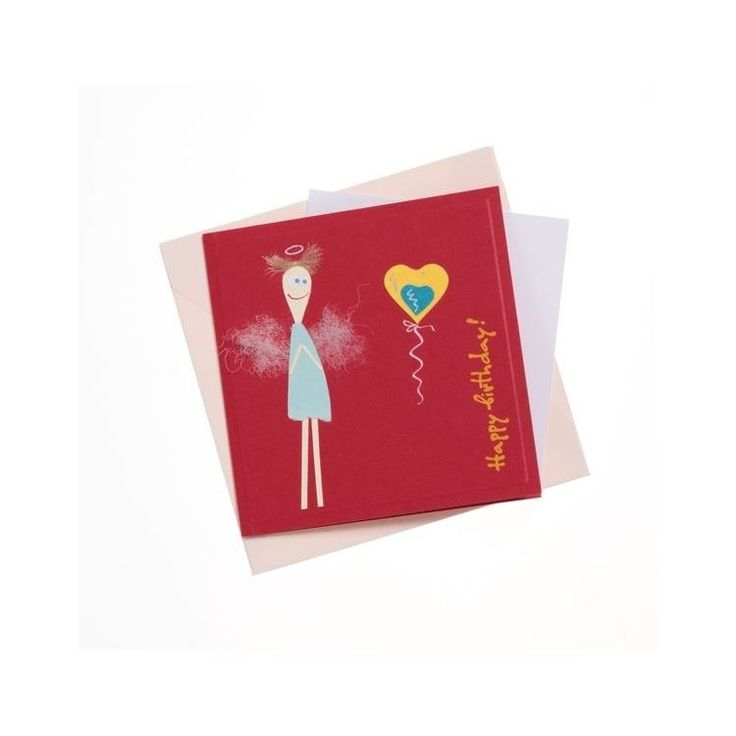"""""""Happy Birthday"""" Square Greeting Card with Skinny Angel""""Happy Birthday"""" Square Greeting Card with Skinny Angel"""