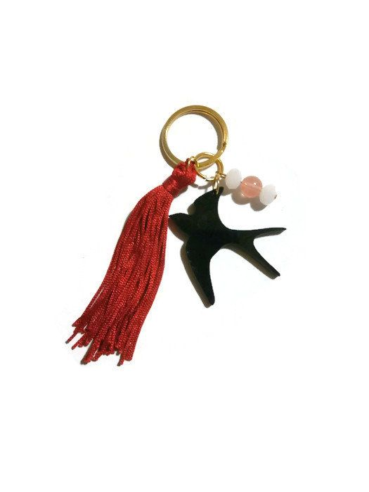 Swallow Keychain Tassel Keychain Black by MakeTheChangeJewelry