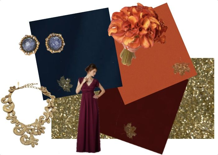 Fall color scheme of burgundy navy or cobalt blue even for Navy dress for fall wedding