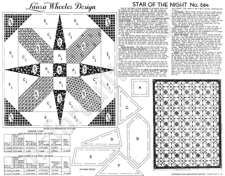 Star of the night 1930s Laura Wheeler block from the Q is for Quilter website