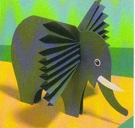 Standing Paper Elephant with accordion folded ears