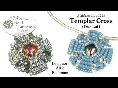 "Designer Allie Buchman teaches you to make her ""Templar Cross"" pendant design using seed beads, Czech 12mm bugles, and Potomac Crystal Rivoli.  Supplies from www.potomacbeads.com"