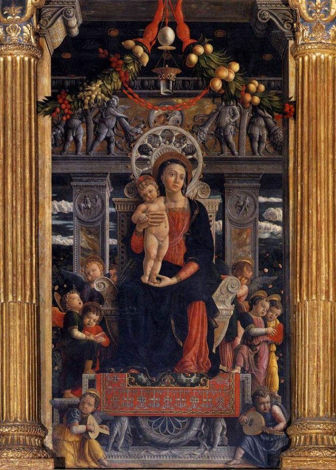 ANDREA MANTEGNA, particolare pala di San Zeno, Madonna con il bambino