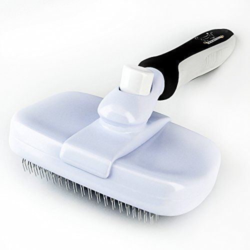 GroomEasy Professional Slicker Brush for dogs and cats. Extra wide Self Cleaning head. Tough enough for Long Thick Coats yet Gentle enough for Shorter Coats. Gets rid of Loose Undercoat, Tangles and Loose Top hair Fast, Guaranteed. Made to last.