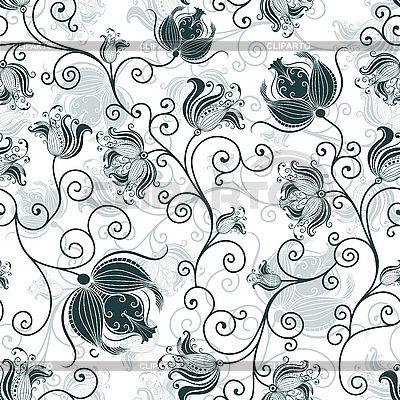 Бесшовные белый темно-зеленый цветочный узор | Векторный клипарт | ID 3174789