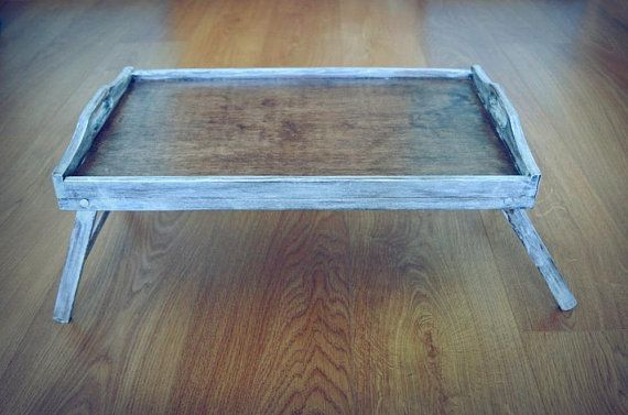 Large Breakfast Tray Bed Tray Tray With Legs White Washed Tray Washed Tray Rustic Wooden Tray Natural Serving Tray Tray De Bed Tray Breakfast Tray Wooden Tray