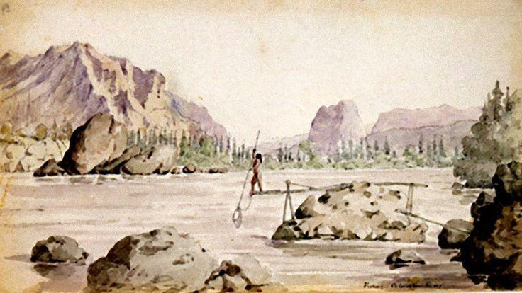 A Valle delle Cascate del Columbia River. Acquarello originale.