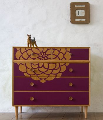Cornwall designer Lucy Turner transforms mid-century furniture with the clever use of laser cut Formica laminate. She applies playful shapes such as pineapples, tulips and flamingos to chests of drawers and dressing tables, resulting in fabulous one off items with a fun, retro feel.  Check out her work at the Upcycled Design exhibition at The Old Cinema in Chiswick, London Thursday 15th March – Sunday 25th March 2012.  Above – Bluebird chest of drawers Viola and Lime Chest in Oak White Bird…
