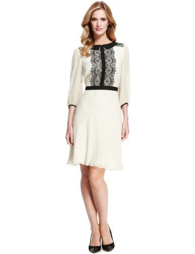 M S Collection Fl Lace Chiffon Tea Dress Marks Spencer