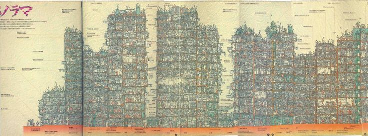 Section of the Kowloon Walled City, documented by a Japanese team in 1993. Amazing that they got a section out of this, I had no idea!