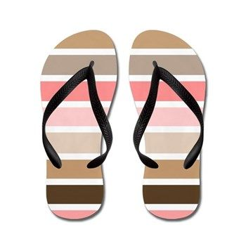 Conch Seashell Stripes Flip Flops by Khoncepts